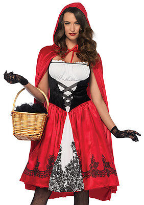 Little Red Riding Hood 2 Pc Rd / Wht / Blk Dress & Cape Fairy Tale Costume    ](Black Riding Hood Costume)