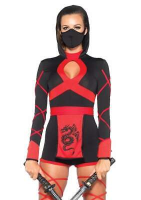 Leg Avenue 3 Piece Dragon Ninja Black/Red Medium