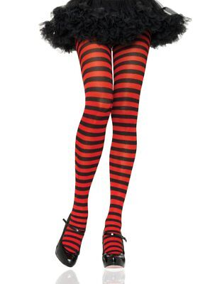 LA-7100Q Plus Queen Size Black Red Stripe Sexy Pantyhose Halloween Costume