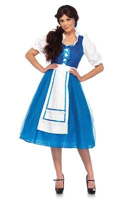 Belle Beauty Village Girl Dress 2 Pc Blue & Wht. Peasant Style Dress & Hair - Belle Blue Dress