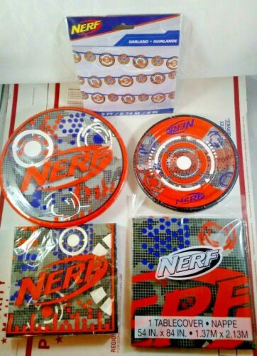 NERF Birthday Party Kit Decorations Supplies Set Plates Table Cover Kids Hasbro