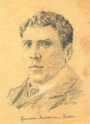 HERMANN JADLOWKER opera tenor original 1917 charcoal illustration, Berlin