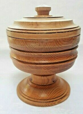 Vintage Swedish wooden bowl with lid from 1984