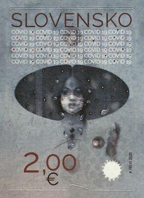 Slovakia 2020 Stop Pandemic Unique Unusual UV Serigraphy Self-adhesive Stamp