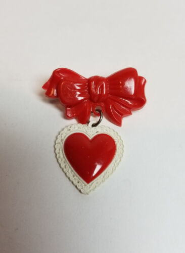 Vintage VALENTINE Heart & Red Bow Celluloid Plastic Brooch Dangle Pin