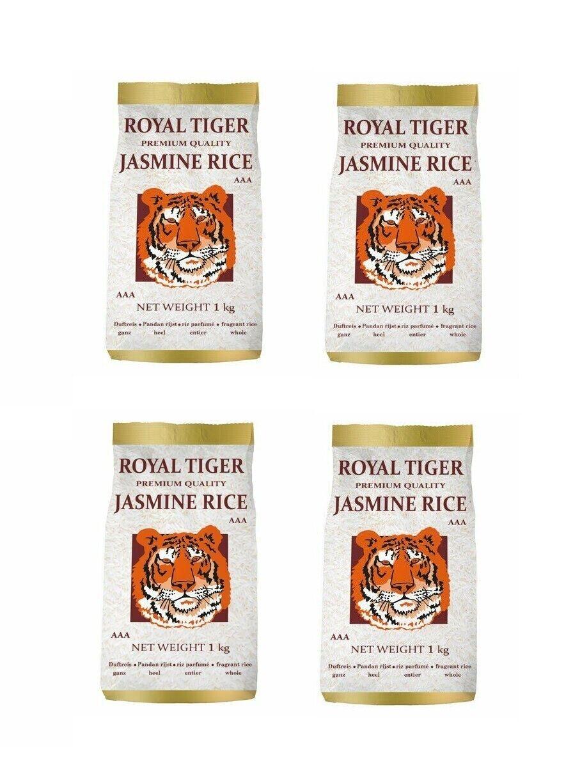 Jasminreis Viererpack: 4 x 1kg Royal Tiger Langkorn Duftreis Jasmin Reis