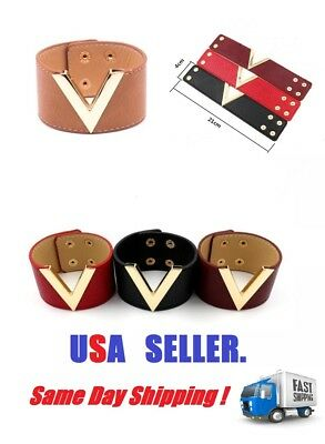 WOMEN  LEATHER CUFF V  BRACELET GOLD METAL ACCENT WRISTBAND WITH SNAP CLOSURE - Snap Wristbands