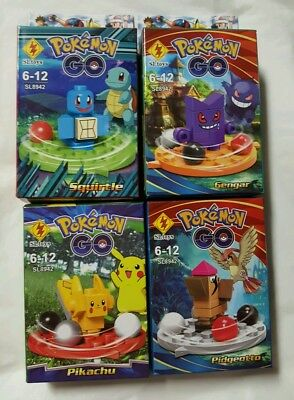4 SET POKE GO Mini Figures POKEBALL Building Blocks Toys mayor brand compatible