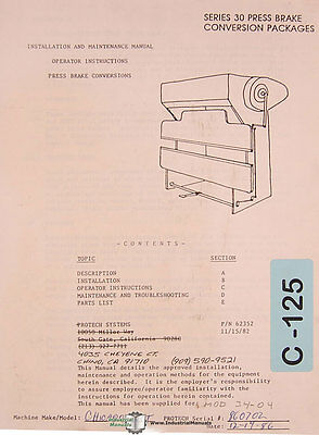 Chicago Series 30 Press Brake Operation Maintenance Parts Conversion Manual 1982