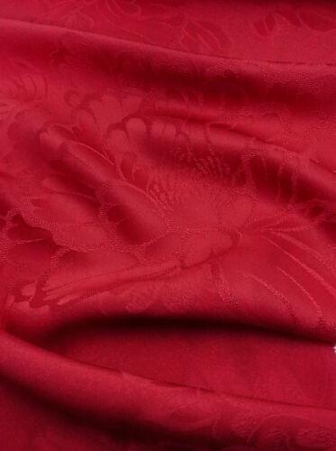 "Unused Japanese Kimono Fabric 74""_Silk,Red,Mon-isho,Peony,#nr101-b"