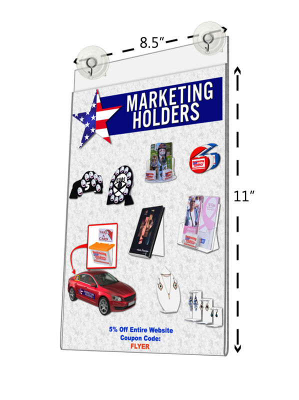 """8.5""""W x 11""""H Window Mount Sign Holder with 2 Suction Cups with Hooks"""