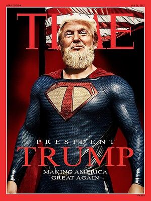 "Donald Super Trump Make America Great Time Magazine 2""x3"" Flexible Fridge Magnet"