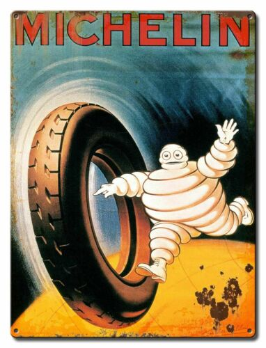 MICHELIN MAN RUNNING AFTER RUNAWAY TIRE HEAVY DUTY USA MADE METAL TIRES SIGN