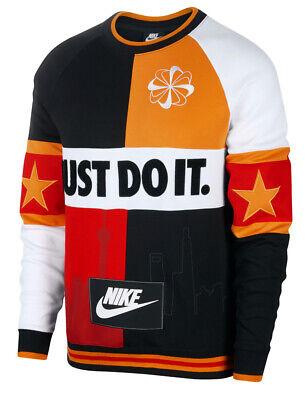 Nike Just Do It Men's Crew Sweatshirt Shanghai Skyline AR1898-010 CANYON GOLD