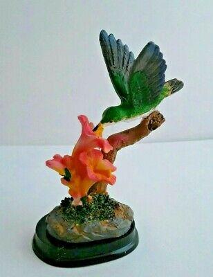 Hummingbirds Animals - Hummingbird Figurines 2 Pink Flowers Outside Birds Hummingbirds Blue Figurine