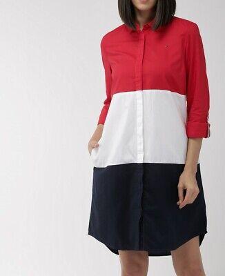 NWT Tommy Hilfiger Women's Long Sleeve Roll-Tab Button Front Shirt Dress Rg -
