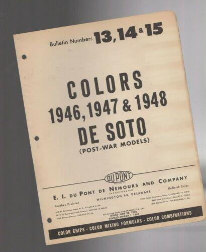 1946/1947/1948 DeSOTO Color Chip Paint Sample Brochure / Chart: DuPont, De Soto