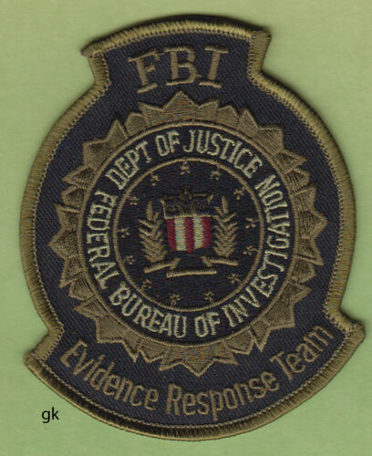 FBI EVIDENCE RESPONSE DEPARTMENT OF JUSTICE POLICE SHOULDER PATCH  (SUBDUED)