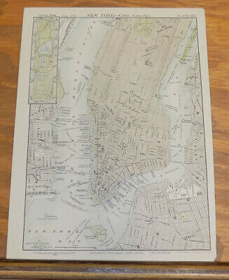 1885 Antique COLOR Map///NEW YORK CITY (LOWER PART), UNITED STATES