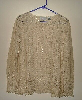 Reflections Ladies Ivory Hand Crochet Long Sleeve TOP Size (Reflections Crochet)
