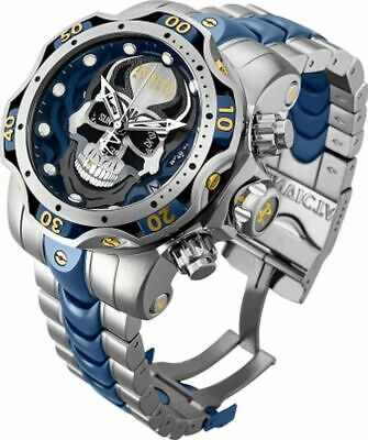 Invicta Reserve Men's 52mm Venom GEN III SKULL SWISS Chrono Blue 2Tone SS Watch