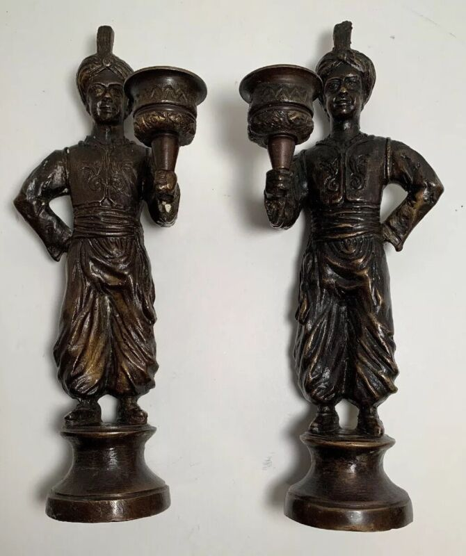 "Antique/ Vintage Pair Bronze Brass Cast Servant Figural Candle Holders- 9.5""Tall"
