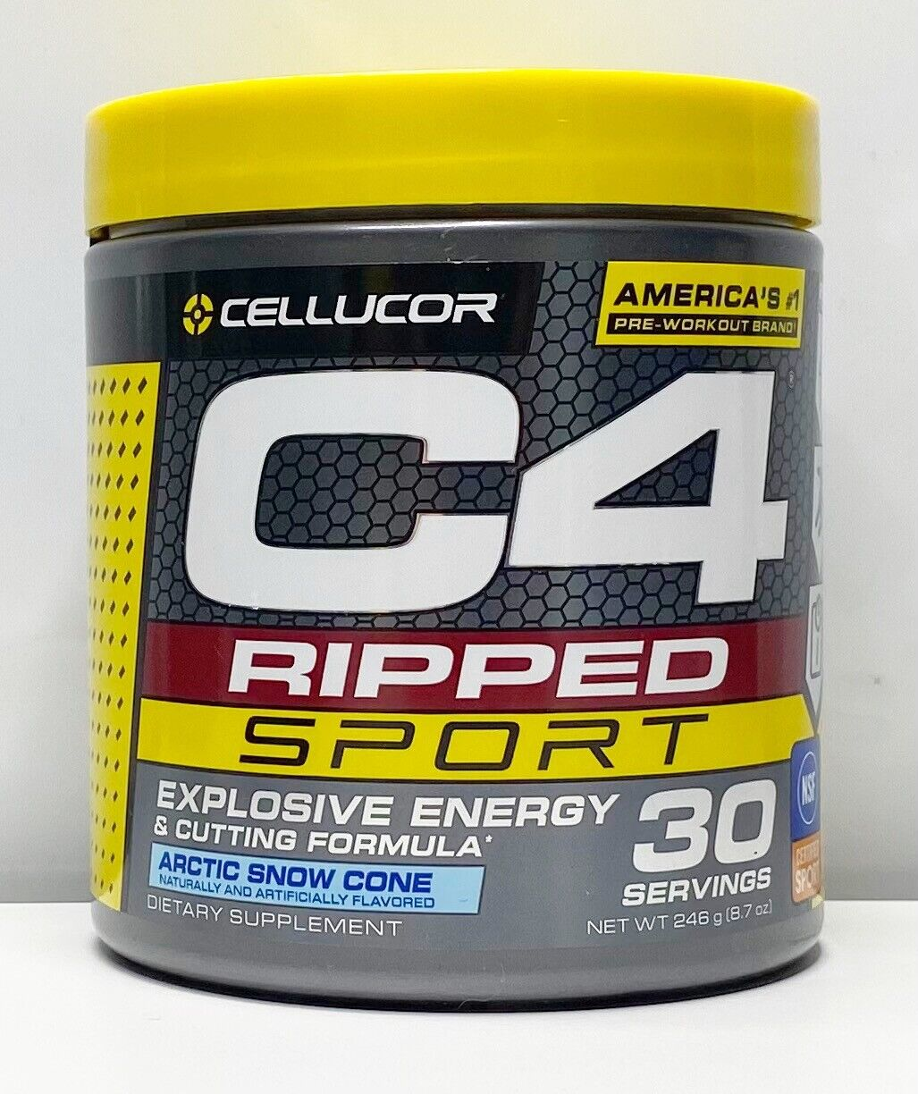 Cellucor C4 Ripped Sport 30 Servings Pre-Workout Artic Snow Cone 8.7oz 03/2023
