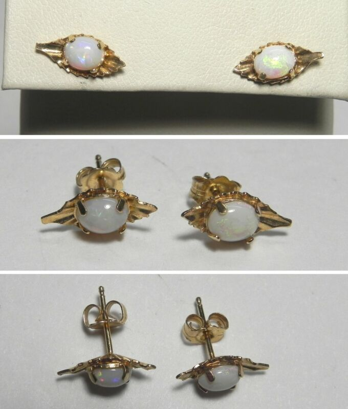 C1449 Vintage 14K Solid Yellow Gold White Opal Stud Earrings