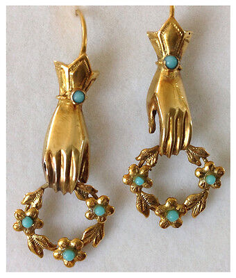 Antique, Romantic Victorian Gold & Turquoise Hand with Floral Garland Earrings,