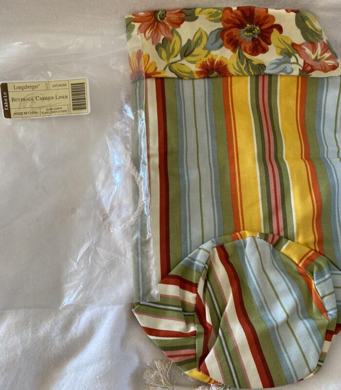 Longaberger Beverage Carrier Liner Sunflower Stripe in Original Package