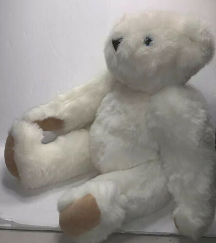 Authentic Vermont 16 White Jointed Plush Teddy Bear With Blue Eyes - $28.95