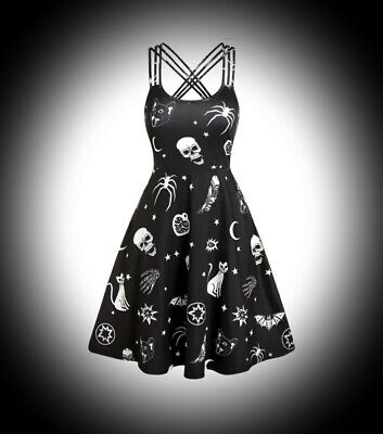 New Black Gothic Witch Skull Cat Bat Print Short Strappy Dress size 3XL 16 18 20