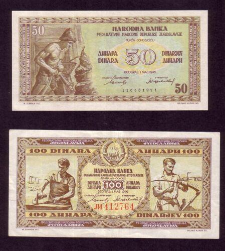 YUGOSLAVIA 50 Dinara 1946 UNC + 100  DINARA 1946 XF