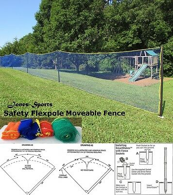 Outfield Fence Safety Flexpole Kit 4' x 50' Baseball Softball Safety Fence Kit