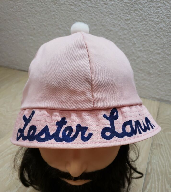 Vintage Lester Lanin Hat Size M/L Pink w/ White Pom Pom Top