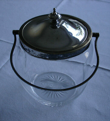 ANTIQUE EPNS (SILVER PLATE) & GLASS BISCUIT BARREL/ SWEETIE JAR