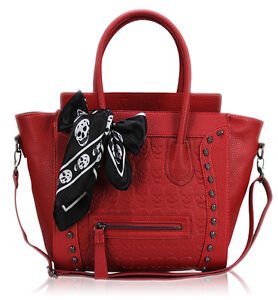 Womens Ladies Designer Leather Style Tote Satchel Smile Skull Scarf Bag Handbag