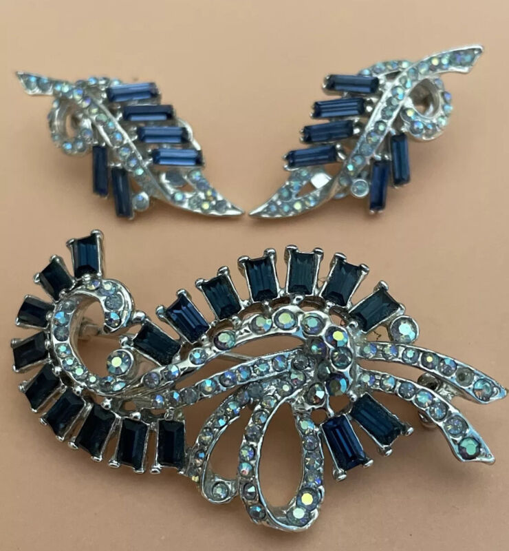Royal Blue And Aurora Borealis Rhinestone SilverTone Brooch And Clip Earrings