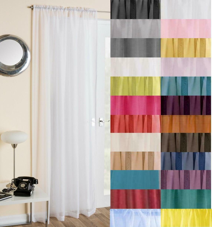 Plain Voile Curtain Panel Rod Pocket Net Slot Top Free 1st