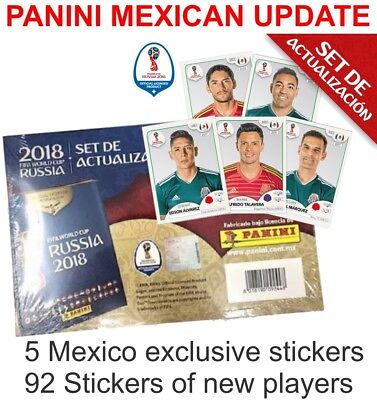 PANINI UPDATE SET 92 + 5 MEXICO STICKERS WORLD CUP RUSSIA 2018 MEXICAN EDITION