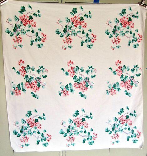 "Vintage Wilendur Pink Geranium Floral Table Cloth - 50"" x 53"""