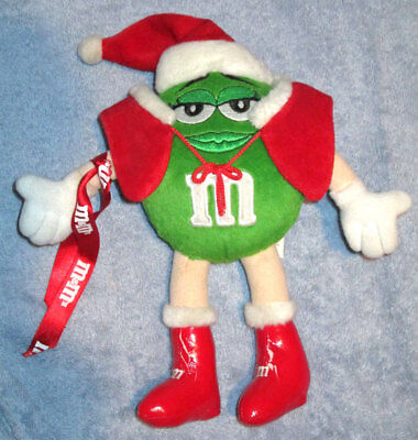 Mars M & M Stuffed Doll Green In Santa Outfit 10