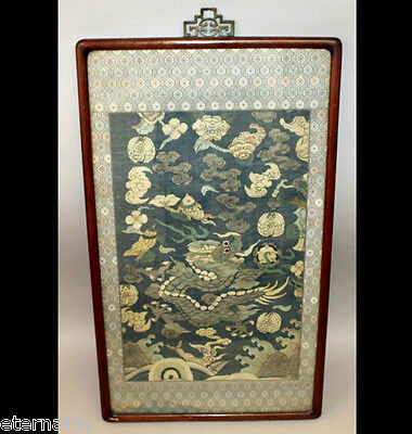 ANTIQUE CHINESE CHINA MANDARIN QING SILK EMBROIDERY KESI DRAGON 19TH C