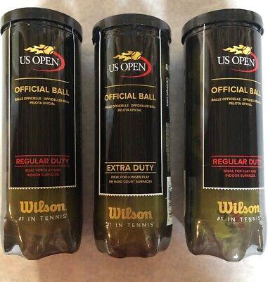 WILSON OFFICIAL US OPEN TENNIS BALLS 1 EXTRA DUTY & 2 REGULAR DUTY CANS ~ NEW