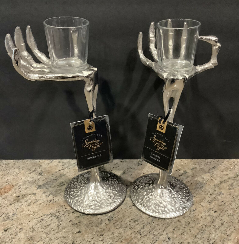 Spooky Nights Skeleton  Hand Candle Holders Set Of 2 New
