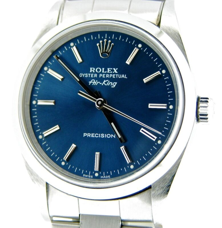 Rolex Air King Precision Mens Stainless Steel Watch Oyster Band Blue Dial 14000