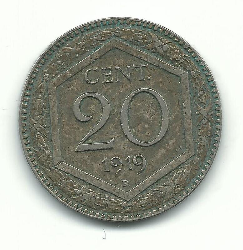VERY NICE HIGH GRADE BETTER DATE 1919 R ITALY 20 CENTESIMI COIN-MAR414