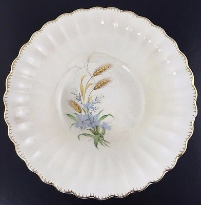 American Limoges Wheatfield Fluted Serving Bowl 22K Gold VTG in Fair Condition