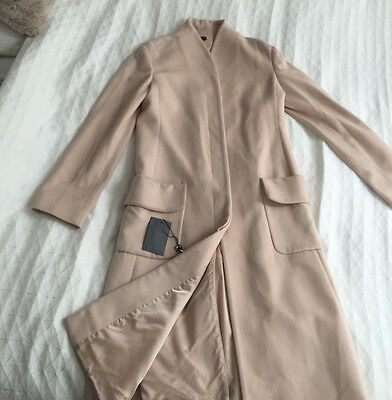 Alexander McQueen Taupe Ivory Long Cashmere Coat, size 44