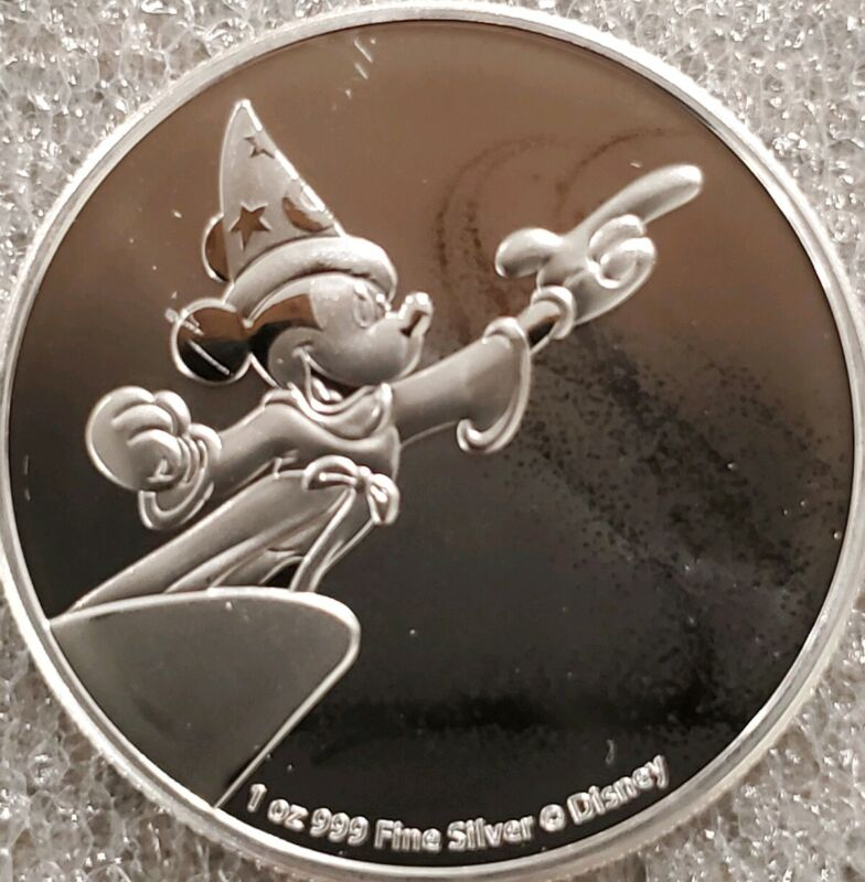 Disney Mickey Mouse Fantasia 1 oz. 999 Silver Coin 2 dollar Niue 2019 Wizard!
